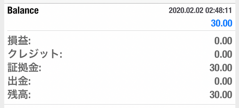 TickmillのMT4にログイン(証拠金残高確認)