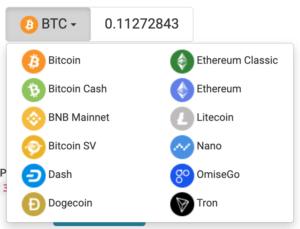 ironFXへ入出金できる仮想通貨(ビットコイン)