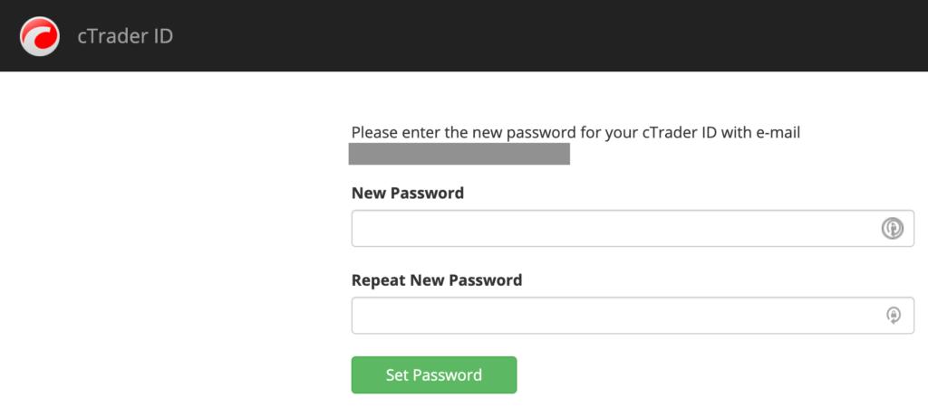 cTraderのログインパスワードを設定
