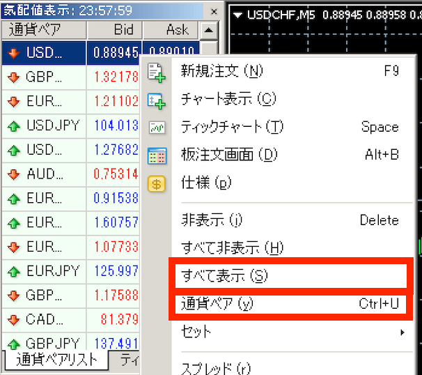 アキシオリーMT4の通貨ペア表示