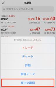 fxgtの板画面(mt5アプリ)