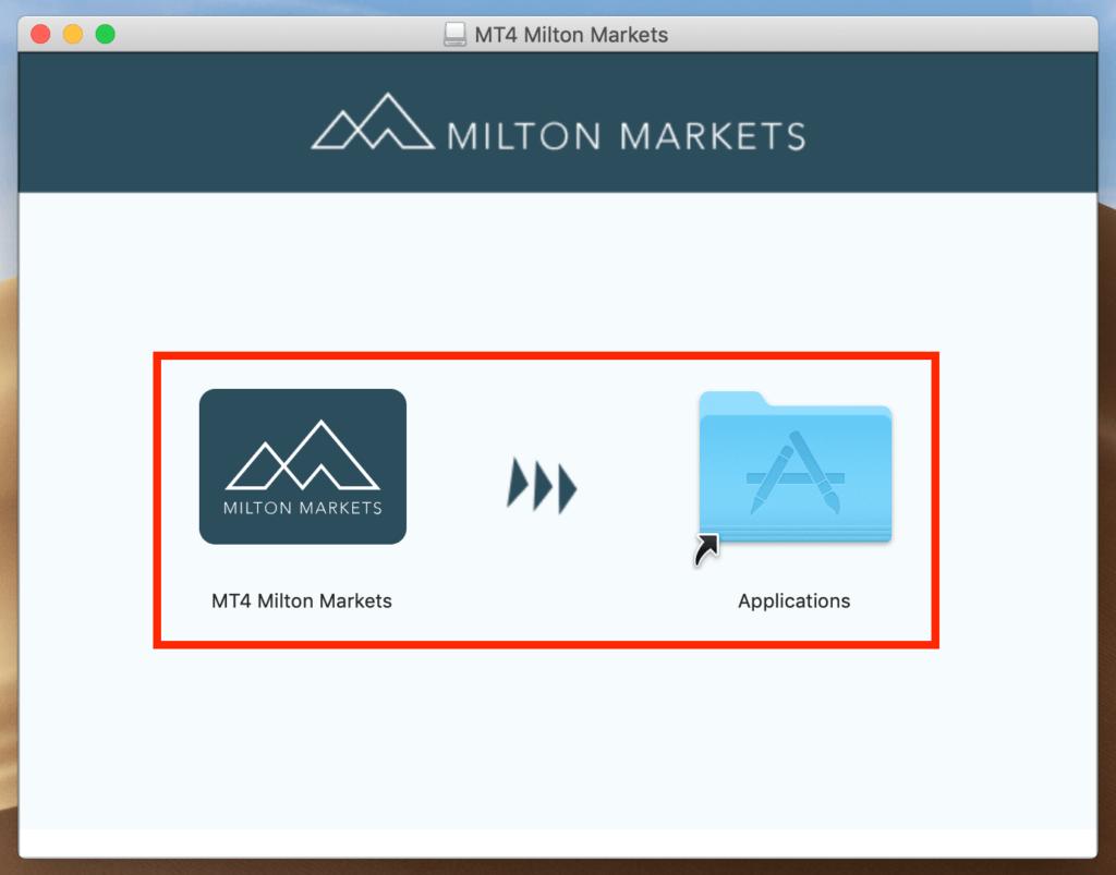 Milton MarketsのMT4ファイルをアプリケーションフォルダへドラッグ