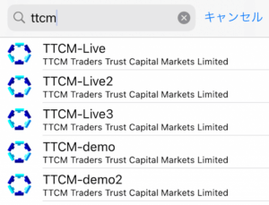 mt4アプリでttcmサーバーを指定