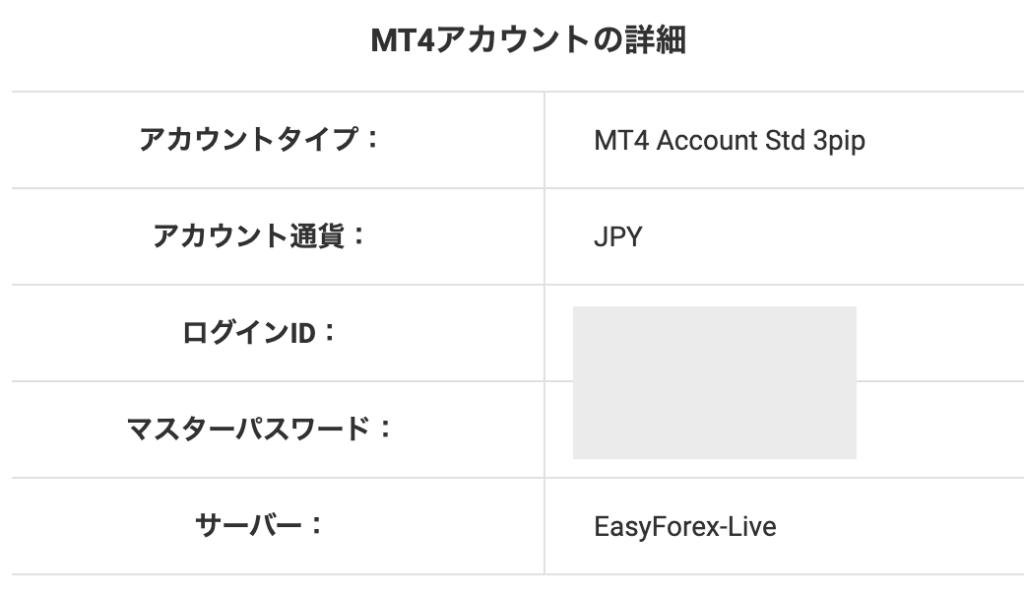 easymarketsのMT4ログイン情報