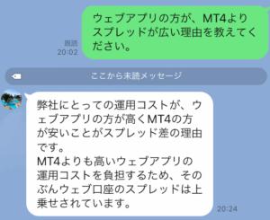 イージーマーケットのスプレッド(ウェブアプリとMT4)