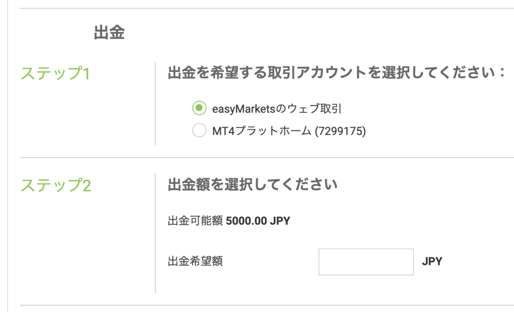 easyMarketsの出金手続き